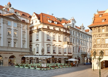 The building of Hotel U Prince is situated opposite the Astronomical Clock